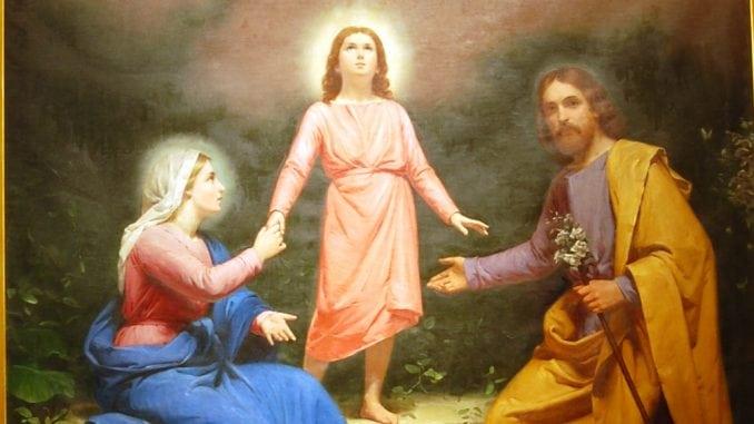 Sainte Famille : Marie, Jésus et Joseph dans la peinture de Giuseppe Riva.