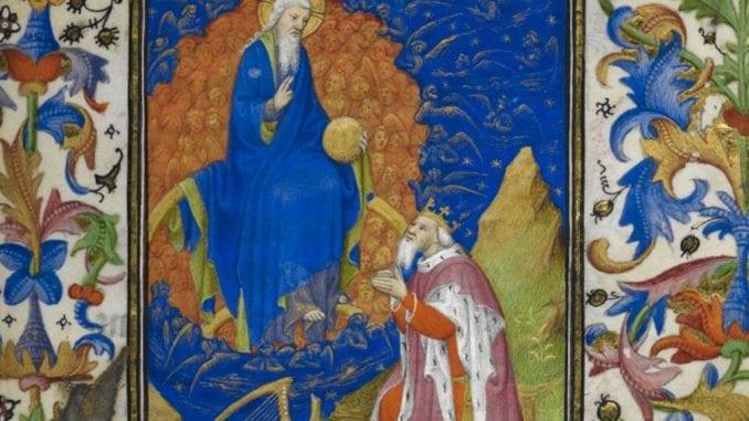 Triple amour du Rédempteur, enluminure Le Seigneur et le roi David