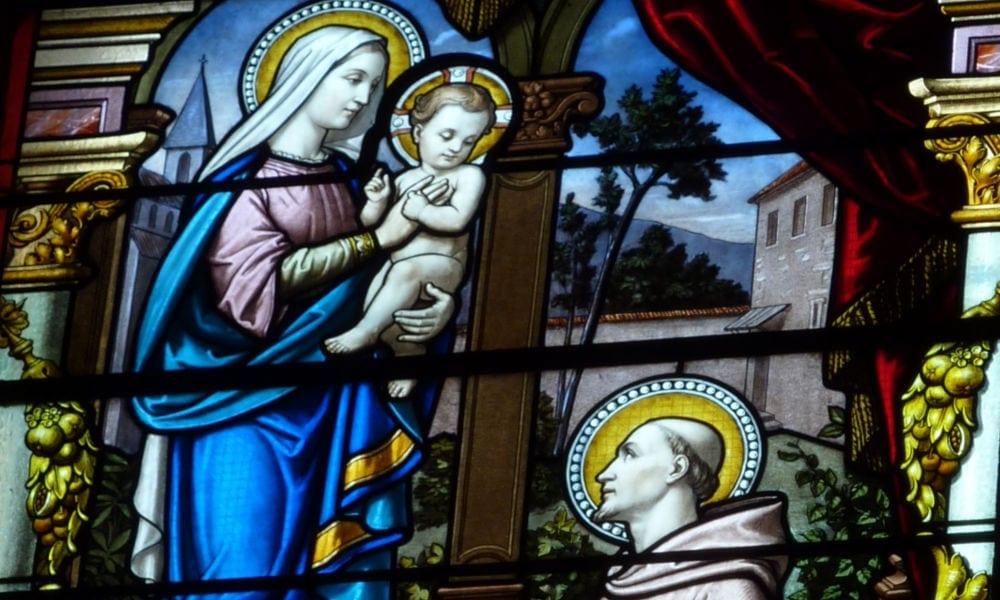 Saint Bernard devant Jésus et Marie.